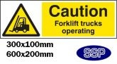 Caution forklift trucks operating Sign