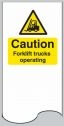 Caution forklift trucks operating door plate