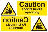Caution forklift trucks operating reflection sign Sign