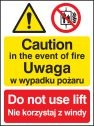 Caution in the event of fire do not use lift (English Polish) Sign
