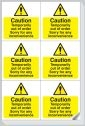 Caution temporarily out of order stickers