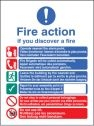Fire action English French German Auto Dial and Lift sign