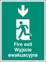Fire exit arrow down (English Polish) Sign