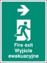 Fire exit arrow right (English Polish) Sign