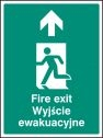Fire exit arrow up (English Polish) Sign