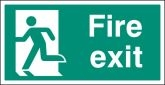 Fire exit left BS single sided Large 5mm Rigid Plastic Sign