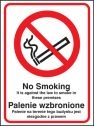 No smoking it is against the law to smoke in premises (English Polish) Sign