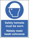 Safety helmets must be worn (English Polish) Sign