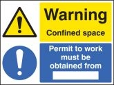 Warning confined space permit to work from.. sign
