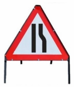 Road Narrows To Right Triangle Temporary Road Sign