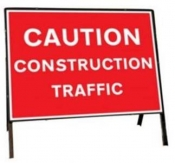 Caution Construction Traffic Temporary Road Sign