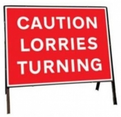Caution Lorries Turning Traffic Temporary Road Sign
