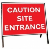 Caution Site Entrance Temporary Road Sign