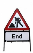 Men At Work With End Triangle Temporary Sign With Supplementary Plate