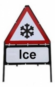 Ice Triangle Temporary Sign With Supplementary Plate