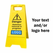 Personalised Yellow Self Standing Sign - Asbestos Removal