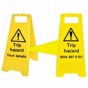 Personalised Yellow Self Standing Sign - Trip Hazard