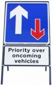 Priority Over Oncoming Traffic Sign With Supplementary Plate