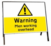 Warning Men working overhead Freestanding Road Sign