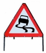 Slippery Road Sign with Frame