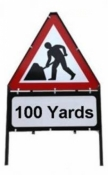 Men At Work With Yards Triangle Temporary Sign With Supplementary Plate
