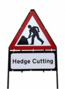 Men At Work With Hedge Cutting Triangle Temporary Sign With Supplementary Plate