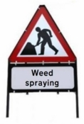 Men At Work With Weed Spraying Triangle Temporary Sign With Supplementary Plate