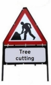 Men At Work With Tree Cutting Triangle Temporary Sign With Supplementary Plate