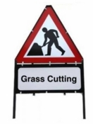 Men At Work With Grass Cutting Triangle Temporary Sign With Supplementary Plate