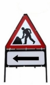 Men At Work With Arrow Left Triangle Temporary Sign With Supplementary Plate
