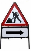 Men At Work With Arrow Right Triangle Temporary Sign With Supplementary Plate