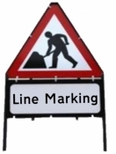 Men At Work With Line Marking Triangle Temporary Sign With Supplementary Plate