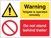 Warning Tailgate is operated remotely Do not stand behind trailer sign