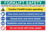 Forklift Safety Multi Message Board sign