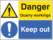 Danger quarry workings keep out sign
