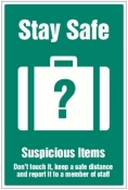 Stay safe suspicious items graphic