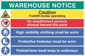 Warehouse Safety Caution forklift trucks hi vis boots must be worn sign