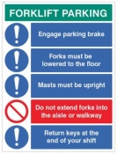 Forklift Parking Engage brakes lower forks return keys sign