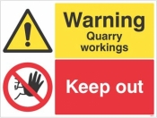 Warning Quarry workings keep out sign