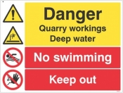 Danger Quarry workings deep water no swimming keep out sign