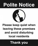 Polite notice Please keep quiet when leaving sign