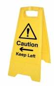Caution Keep left|right free-standing floor sign