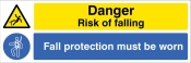 Danger Risk of falling Fall protection must be worn Sign