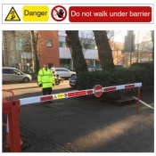 Do not walk under barrier sign