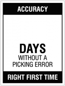 Updateable Dry-Wipe Days without a picking error Sign