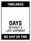 Updateable Dry-Wipe Days without late shipment Sign