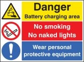 Warning Battery Charging Wear PPE No smoking or naked lights sign
