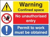 Warning confined space no entry permit to work Sign (6264)