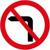 No Left Turns Sign (613)