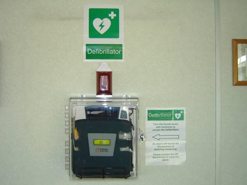 defibrillator cabinet in use